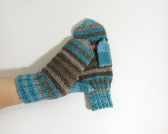 Hand Knitted Mohair Mittens - Blue,Grey, Brown, Size Medium