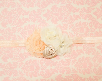 Peach and cream headband/ Newborn headband/ baby headband