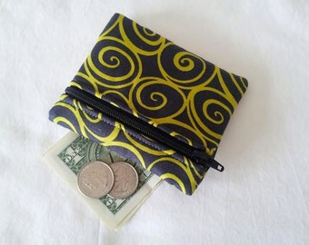 Coin Purse, Zipper Pouch, Change Purse, Wallet, charcoal, black, green, lime green, swirls