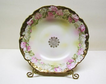 Antique porcelain bowl with pink and white roses, c.1900 china bowl made in Germany