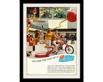 1967 HARLEY DAVIDSON M-65 Motorcycle Ad, Vintage Advertisement Art Print