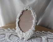 Brass Oval Frame - White Shabby Frame - Painted Oval Frame - Carved Flowers Frame - French Country Style Frame