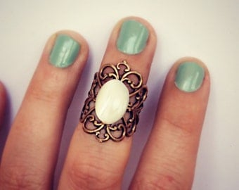 pearl knuckle ring, midi ring, above the knuckle ring, pearl ring, antique brass ring, unique ring