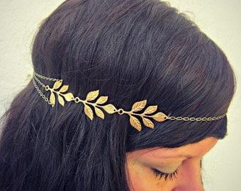 golden leaves head chain, chain headband, grecian headband, metal headband, unique headband