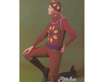 1970s Granny Square Petal Tank Top and Hat, Short Pants and Turtle Neck Top - Crochet and Knit patterns PDF 4569