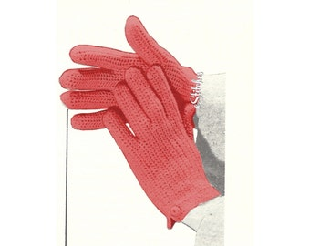 1950s Shortie Fashionable Gloves for Style and Warmth - Crochet pattern PDF 7458