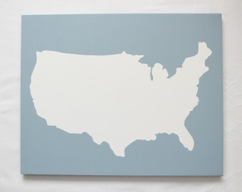United States DIY Customize Map -16X20 Canvas Acrylic Painting, Wall Art, Decor Winter Blue