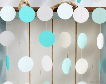 Mint Green, Aqua, Iced Blue, White, Ivory, Grey 12 ft Circle Paper Garland- Wedding, Birthday, Bridal Shower, Baby Shower, Party Decorations