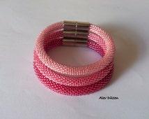 3 Pink Bead Crochet Bracelets / Beaded Crochet Bracelet / Pink Bead Crochet Bracelets