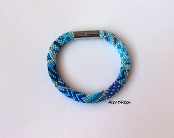 DISCOUNT  Blue Dream Crochet Bracelet / Handmade Blue Crochet Bracelet /  Bead Crochet Bracelet