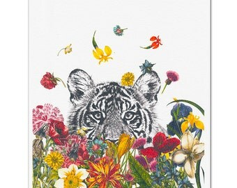 Mixed media Decorative art Animal painting drawing illustration portrait  print POSTER 8x10The Happy Tiger