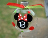 Small Initial Mickey or Minnie Mouse Christmas ornament