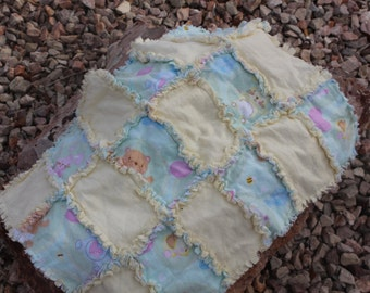 Baby Animals Rag Quilt Set of Two Burp Cloths/Security Blankets