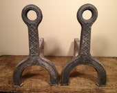 Vintage Art Deco Andirons - Antique Cast Iron