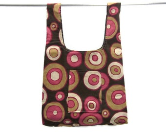 Handmade washable grocery bag - eco friendly, durable - pink & beige circles on brown