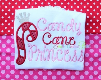 Candy Cane Princess Embroidered Shirt - Christmas Shirt - Reindeer Shirt - Girl Christmas Shirt - Santa - Christmas - Candy Cane Princess