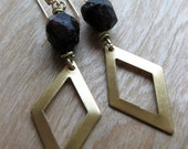 brass diamond cutout and natural GARNET crystal earrings