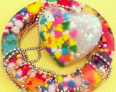 Sweet Dreams Candy Sprinkle & Holographic Glitter Resin Heart Necklace