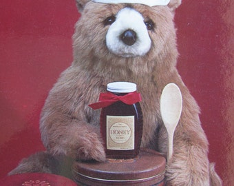 Teddy Bear Postcard  -  Cooking with honey - Vintage 1980s