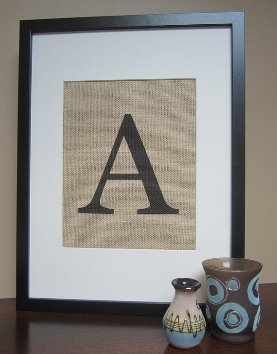 "Burlap Monogram Wall Decor - Print 8"" x 10"" - All Letters Available - Capital or Small - Canvas Wall Decor"