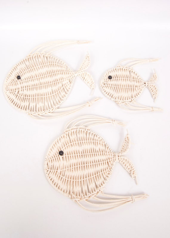 Vintage Wicker Fish Wall Hanging Set Of 3 Rattan Angel Fish