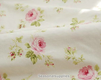 Large Rose Cotton Fabric Pink Dots On Off White Background Shabby Chic Flower
