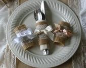 TWELVE Burlap and lace silverware wrap