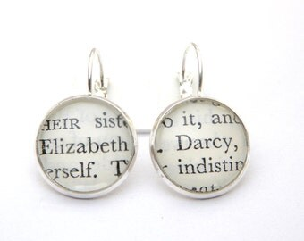 Mr Darcy & Elizabeth Earrings, Pride And Prejudice Earrings, Jane Austen, Book Jewellery, Drop Earrings