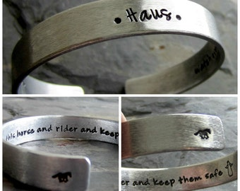 Personalized Handstamped Horse Quote Cuff Bracelet-Equestrian jewelry-Guardian Angel-Hand Stamped Cuff