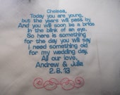 Personalized Embroidered flower girl Handkerchief Wedding Keepsake