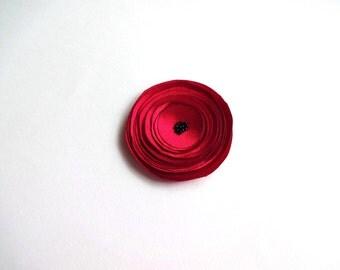 Red Satin Poppy Brooch/ Hair Pin
