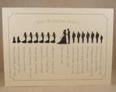 Wedding Party Program with Silhouette People / Elegant / Pretty / Bridal / Itinerary / Printed Program or Digital File