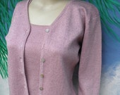Joseph A 2pc Pink Metallic  L/S Cardigan Sweater & Shell,  80's/90's, I have missing button :-)