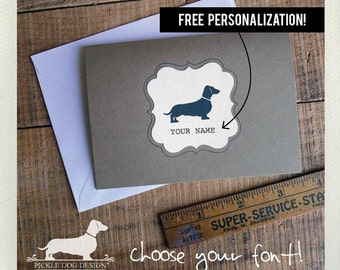 Doxie. Personalized Note Cards (Set of 8) -- (Hello, Dog, Dachshund, Vintage-Style, Brown, Weiner Dog, Birthday Gift, Custom Note Cards)
