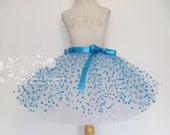 Polka Dot Tutu Skirt Adult Tulle Skirt Adult Turquoise Polka Dot Tutu Blue White Polka Dot Adult Tutu Skirt Skirt by American Blossoms