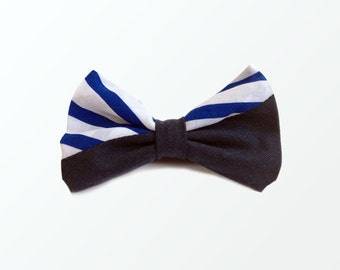 Father's Day Bow Ties, Blue Stripe and Navy Cotton Mixed Pre Tied Bow Tie for Men, Wedding and Gift /READY TO SHIP