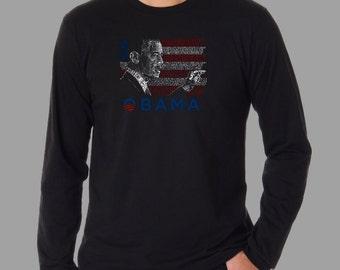 Men's Long Sleeve T-Shirt- Barack Obama - President Barack Obama Created Out of All the Lyrics to America the Beautiful