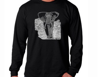 Men's Long Sleeve T-shirt - Elephant - Created using a list of popular endangered species