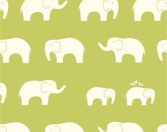 Birch Fabrics Mod Basics Ellie Fam Organic Cotton Elephant Fabric in Green - 1/2 Yard