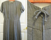 SALE Vintage 50s 60s Pleated Dress School Girl Youth Guild Small Gray Bow Classic Mid Century