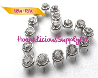 25pc 10mm Silver Prong Studs w/Silver Rhinestone Centers. Perfect for Leather. Shoes. Shirts. Shorts.Customize your clothing.Ships from USA.