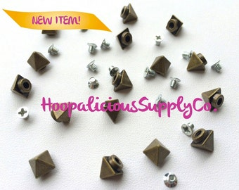 "7pc 6mm ""Tall & Narrow"" Pyramid Morsel Metal Screw Back Studs. DIY Clothing, Shoes,etc. Fast Shipping from USA w/ Tracking 4 Domestic Orders"