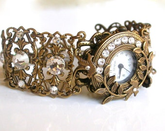 Brass Women's Wrist Watch Swarovski Crystal Watch Unique Victorian Watch Gift for Woman Gothic Women Watches Romantic Filigree Watch