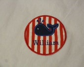 nautical stripe whale patch / FREE personalization/ applique