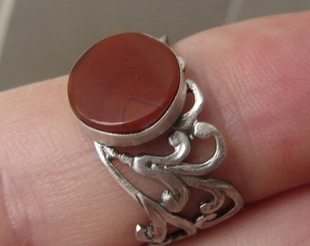 Sterling Silver Jasper Ring - Red Ring - Lace Band Ring Collection