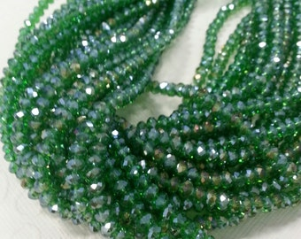 Chinese Crystal. 4 mm Rondelle Green Luster Color.