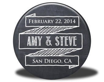 PERSONALIZED Wedding Favors - Mirror, Magnet, Bottle Opener or Pin - Chalkboard2