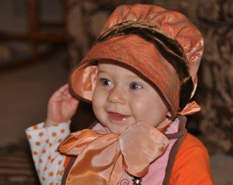 Pumpkin Bonnet, Autumn, fancy textured fabric with silky lining, vintage brown velvet ribbon and silky ties