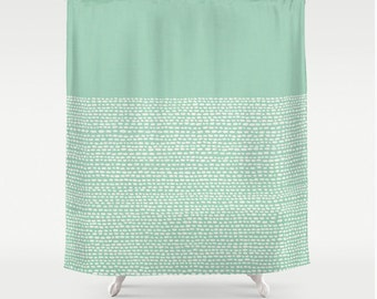 mint green shower curtain. Pantone color hemlock shower curtain in green  pantone colors modern bathroom decor calming Quote yellow wake up and be