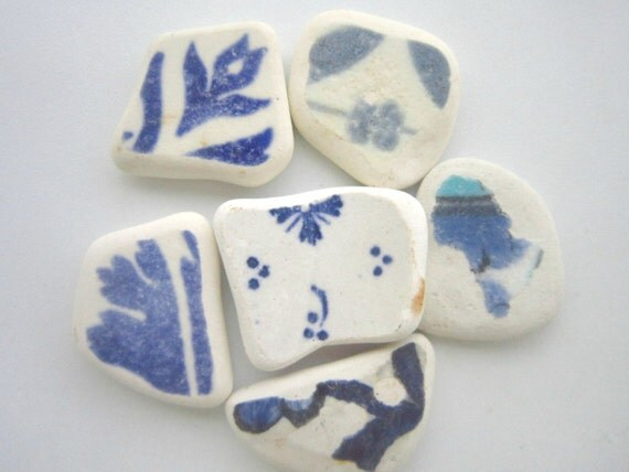 Blue and White Sea Pottery from Agapi Sea Glass